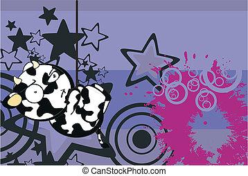 divertente, mucca, cartone animato, background6