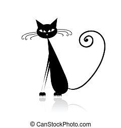 divertente, nero, disegno, tuo, gatto