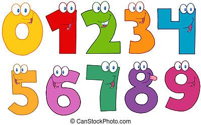 divertente, numeri, caratteri, cartone animato