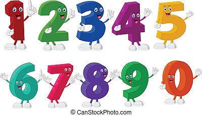 divertente, numeri, cartone animato, caratteri