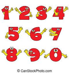 divertente, numero, collezione, cartone animato