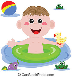 divertente, nuotatore, ragazzo