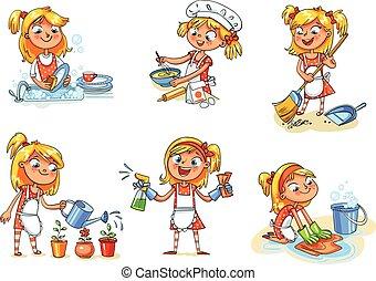 divertente, occupato, casa, carattere, cleaning., ragazza, home., cartone animato
