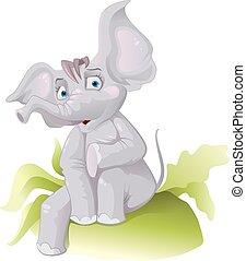 divertente, orecchio, elefante africano, grande