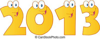 divertente, oro, numeri, anno, nuovo, 2013