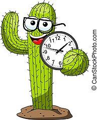 divertente, orologio, carattere, isolato, cartone animato, vettore, presa a terra, cactus, nerd