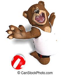 divertente, orso, giochi, pallavolo