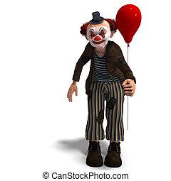 divertente, pagliaccio circo, con, lotto, di, emozioni