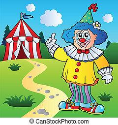 divertente, pagliaccio, con, tenda circus