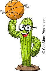 divertente, pallacanestro, carattere, isolato, palla, vettore, dito, cactus, cartone animato