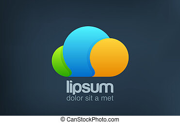 divertente, parlare, luminoso, chiacchierata, icon., logo., nuvola