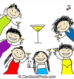 divertente, party!, disegno, gallina, amici, tuo