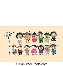 divertente, persone, cartone animato