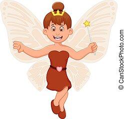 divertente, piccola ragazza, volare, fata, cartone animato