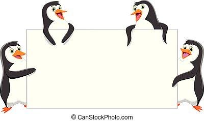 divertente, pinguino, vuoto, cartone animato, segno