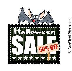 divertente, pipistrello, halloween, bandiera, vendita