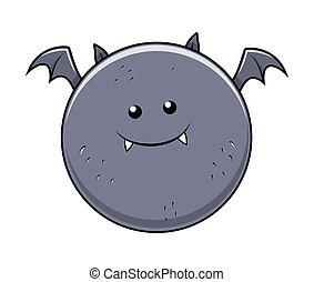 divertente, pipistrello, halloween, grasso, carattere