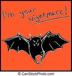 divertente, pipistrello, halloween, scheda, testo