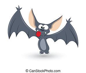 divertente, pipistrello, vettore, halloween