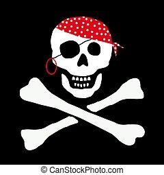 divertente, pirata, cranio, segno