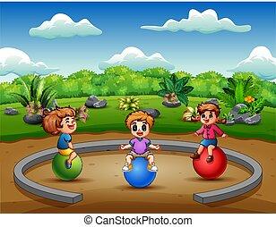 divertente, poco, bambini, palla, seduta
