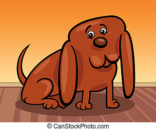 divertente, poco, cane, cartone animato, illustrazione
