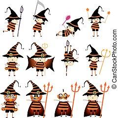 divertente, poco, halloween., felice, bambino