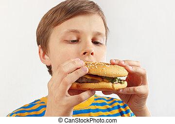 divertente, poco, mangiare, camicia, ragazzo, fondo., saporito, hamburger, strisce, bianco