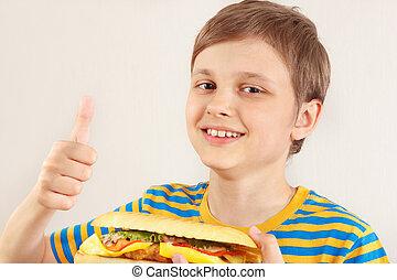 divertente, poco, recommends, ragazzo, grande, cheeseburger, simili, fondo, bianco
