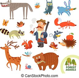 divertente, poco, set, animali, foresta