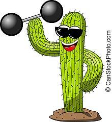 divertente, potere, carattere, isolato, cactus, cartone animato, pesista, fresco