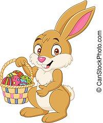 divertente, presa a terra, coniglio, cesto, pasqua, cartone animato