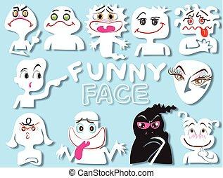 divertente, progetto serie, cartone animato, faccia