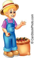 divertente, ragazza, cartone animato, giardiniere