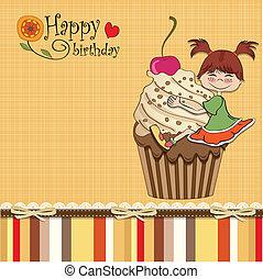 divertente, ragazza, scheda compleanno