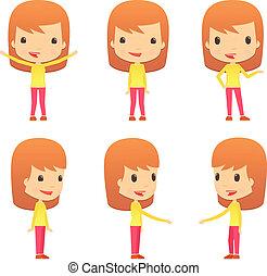 divertente, ragazza, set, cartone animato