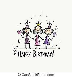 divertente, ragazze, compleanno, disegno, tuo, festa