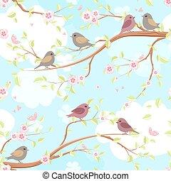 divertente, rami, fiore, seamless, struttura, cherry., uccelli