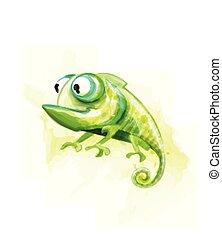 divertente, rettile, camaleonte, grande, carattere, occhi, acquarello, carino, vector., cartone animato