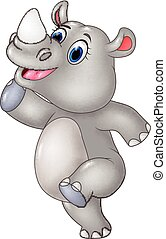 divertente, rinoceronte, proposta, cartone animato, isolato