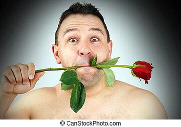 divertente, rosa, faccia, bocca, rosso, uomo