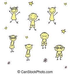 divertente, scarabocchiare, mano, disegnato, bambini, triste