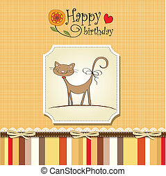 divertente, scheda compleanno, gatto