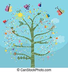 divertente, scheda, con, albero, e, farfalle, per, bambini