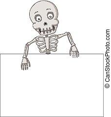 divertente, scheletro, segno, umano, vuoto, cartone animato