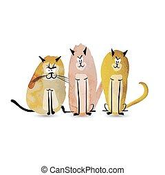 divertente, schizzo, cats., acquarello, disegno, tuo