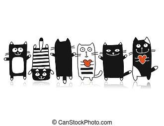 divertente, schizzo, collezione, gatti, disegno, tuo