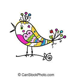divertente, schizzo, colorito, disegno uccello, tuo