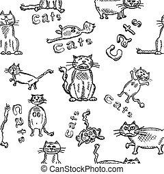 divertente, schizzo, gatti, seamles, fondo