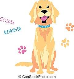 divertente, schizzo, seduta, dorato, cane, vettore, cane da riporto